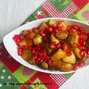 JUharszirupos sült kelbimbó, burgonyával, dióval és gránátalmával