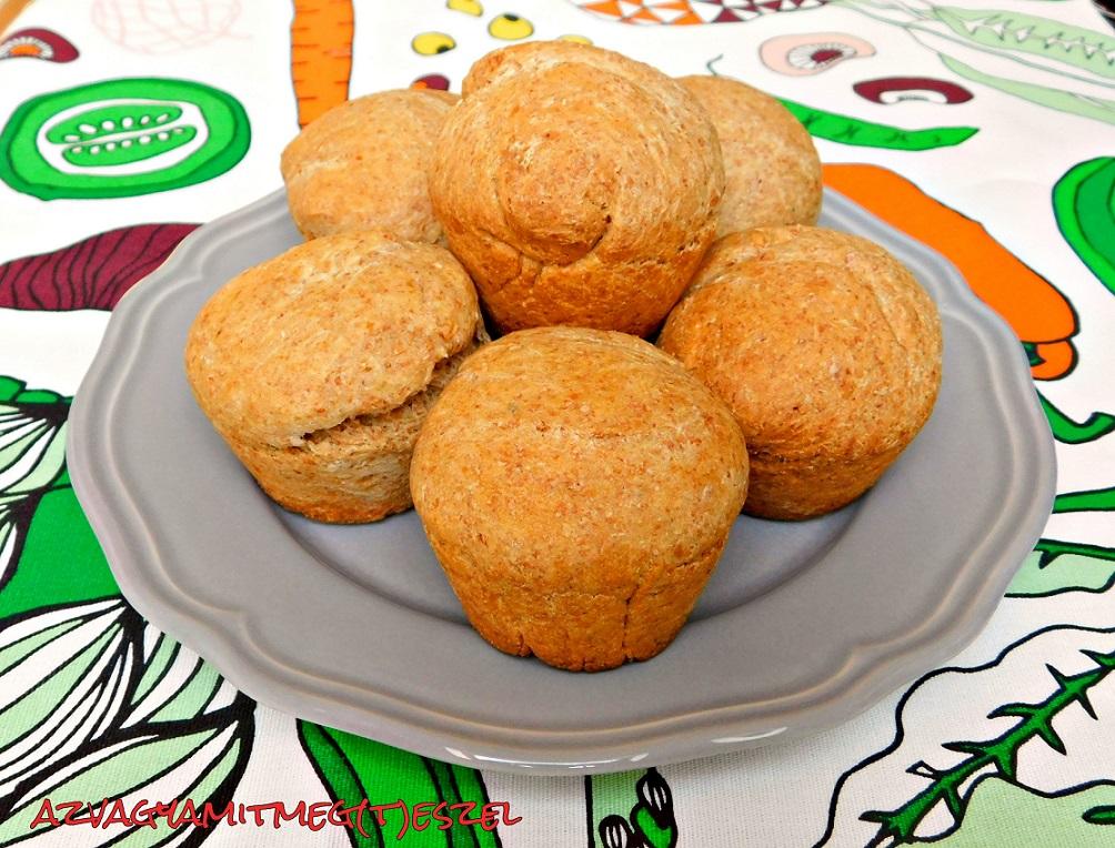 Teljes kiőrlésű zsemle-muffin